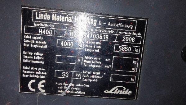 Šakinis krautuvas LINDE H40D specifikacija